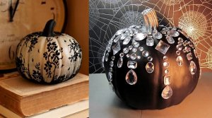 Halloween Decor  lace pumpkin in a stocking, bling pumpkin decorated with  crystals