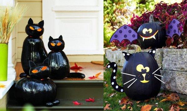 cat bats pumpkins Black paint and scrapbook for spooky Halloween creatures