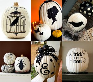 classy white pumpkins with black stencils