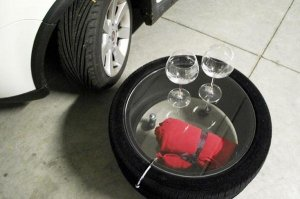 recycling car tiles for coffee tables on wheels