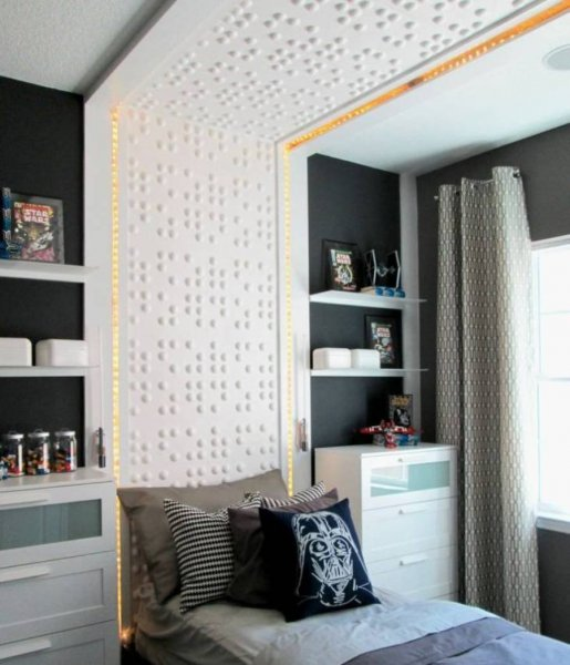 Star-Wars-bedroom-ideas-with-pillow-and-toys-and-led-string-light-headboard-up-to-ceiling