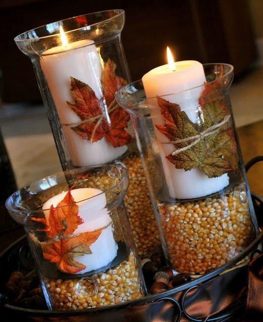 2014 thanksgiving candles crafts with mason jar - leaf corntable ideas-f24510