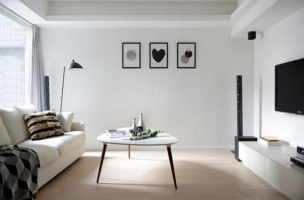 Minimalist-black-and-white-living-room-design-ideas-white-sofa-wall-color