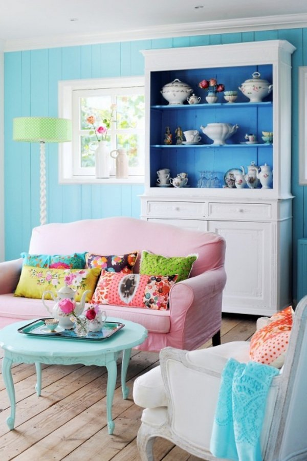 Shabby-Chic-living-room-interior-design-vintage-cupboard-coffee-table-pastel-blue-wall-color-pink-sofa