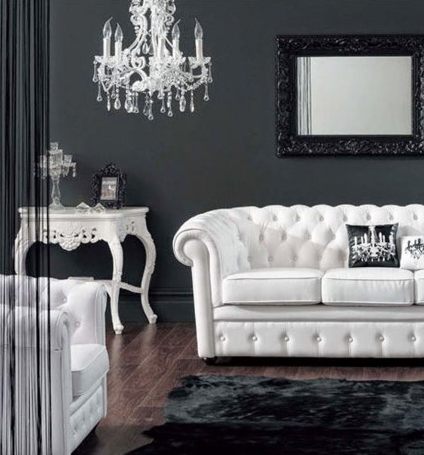 black-and-white-living-room-design-black-wall-color-white-sofa-crystal-chandelier