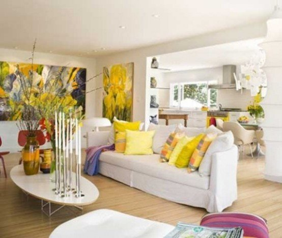 bright-and-cool-decoration-in-spring-theme-ideas-with-white-sofa-and-colorful-cushions-and-nice-flower-arrangement
