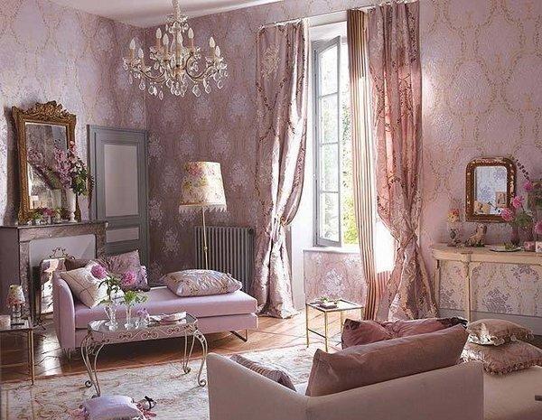 elegant-living-room-shabby-chic-style-decor-pastel-pink-interior-crystal-chandelier-frames-mirror