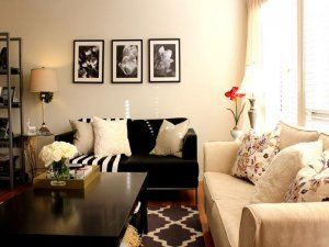 living-room-astounding-small-living-room-design-displaying-antique-white-walls-colors-scheme-together-with-black-fabric-loveseat-sofa-combine-beige-fabric-pillows-near-cream-cone-shade-table-lamp-also