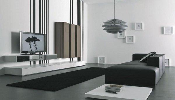 minimalist-black-white-living-room-black-sofa-carpet-white-wall-color