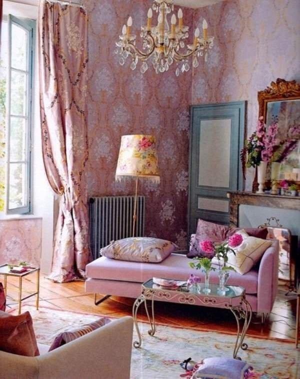 romantic-elegant-Shabby-Chic-living-room-interior-design-pastel-pink-decor-daybed-crystal-chandelier