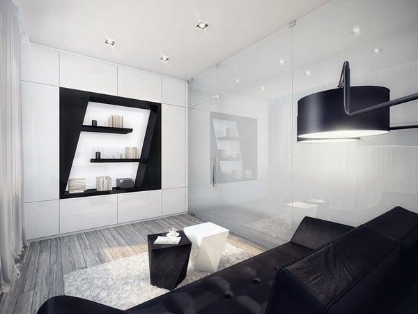 small-living-room-design-ideas-bstylish-lack-and-white-interior-black-sofa-white-carpet