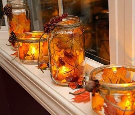 thanksgiving mason jar crafts candle holder fall leaf in 2014 - party table decor-f38418