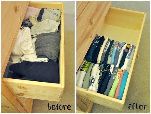 Life-Hacks-For-Your-Clothing-Closet-Tshirt-drawer